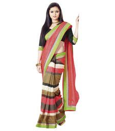 Buy Multicolor printed art silk saree with blouse party-wear-saree online