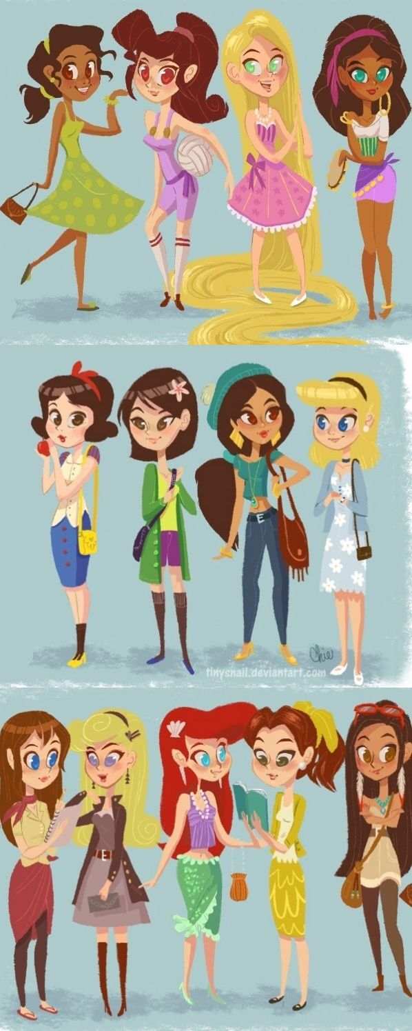 All of the Disney Princesses and girls ready to start their day!