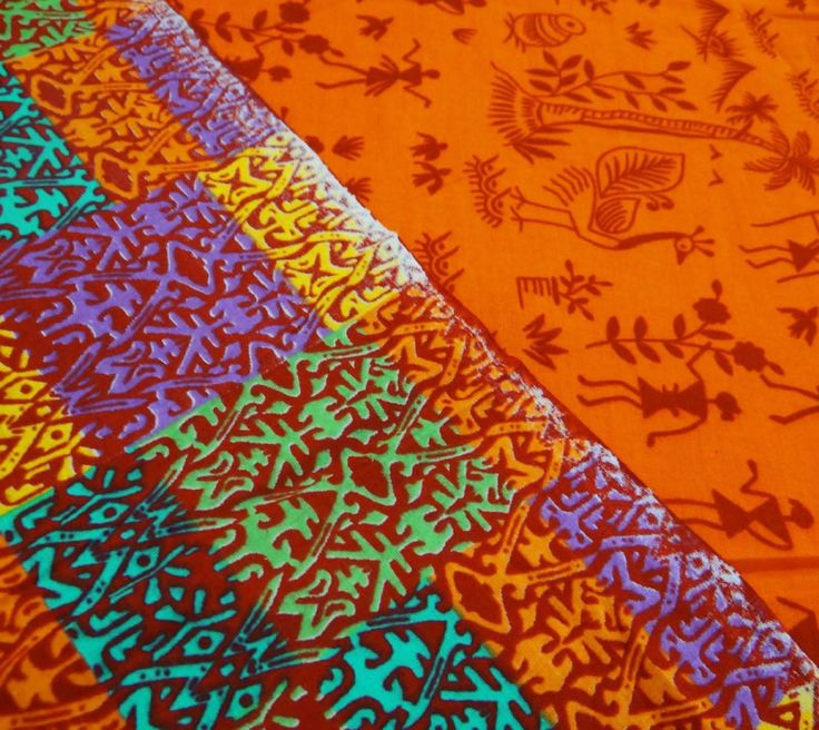 "Orange Designer Pictorial Printed Cotton 42"" Wide Thick Craft Fabric By 1 Yard: Amazon.co.uk: Kitchen & Home"