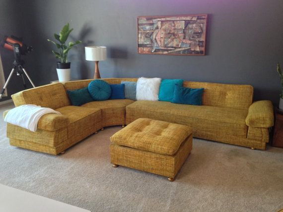 Mid Century Mod Yellow Tweed Wool Lounge Sectional By Rudolph130a 4700 00 Etsy S Viral Vintage Venue Pinterest Living Rooms And