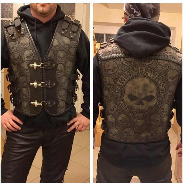 SOA Motorcycle Sons of Anarchy ARMOR Leather Open Collar Leather Biker Vest XL
