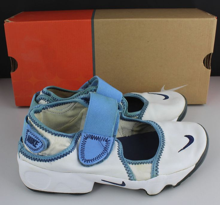 Nike Air Rift (GS/PS) White Navy Blue Trainers Shoes Size UK 4.5 EUR 37.5  | eBay