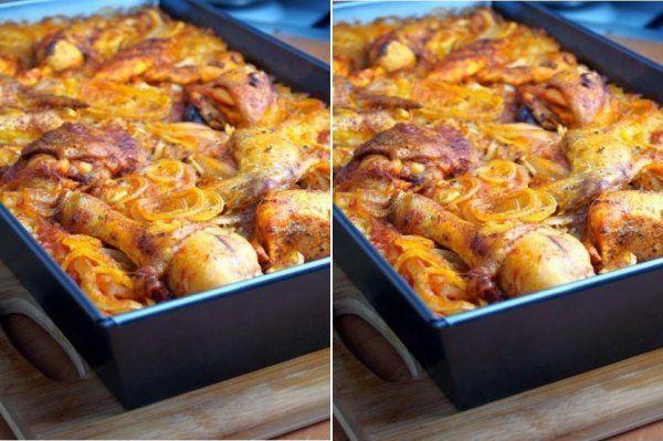 Kurczak pieczony na ryżu♥♥♥ Smaczny OBIADEK :)