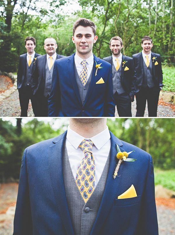 Navy & Yellow - very stylish groom!
