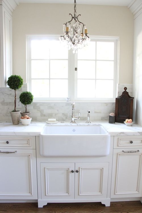 chandelier over the sink