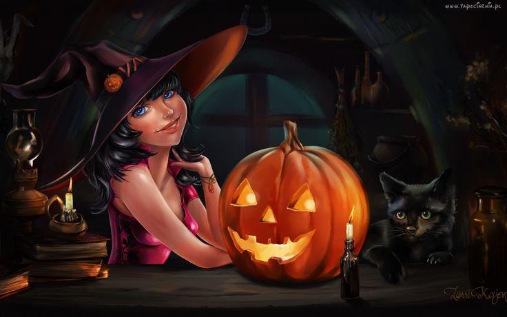 Halloween, Czarownica, Czarny, Kot, Świecąca, Dynia