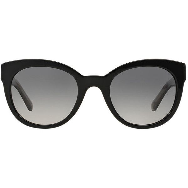 Burberry Be4210 52 Black Round Sunglasses (£170) ❤ liked on Polyvore featuring accessories, eyewear, sunglasses, burberry, cat-eye glasses, rounded cat eye sunglasses, cat eye glasses and burberry glasses