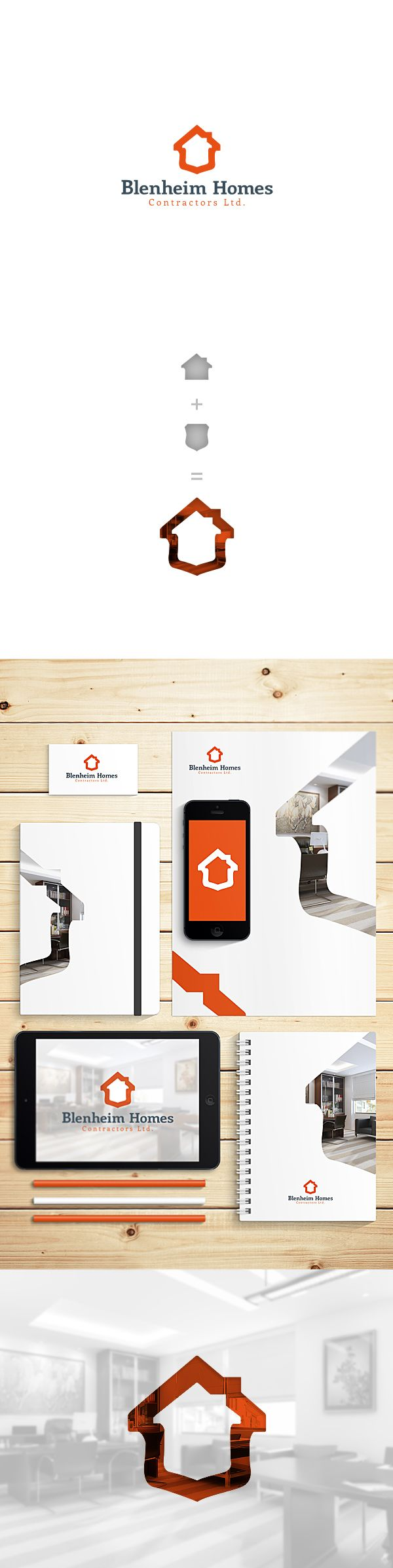 Blenheim Home Contractors Ltd. by Karol Sidorowski, via Behance | #stationary #corporate #design #corporatedesign #identity #branding #marketing < repinned by www.BlickeDeeler.de | Take a look at www.LogoGestaltung-Hamburg.de