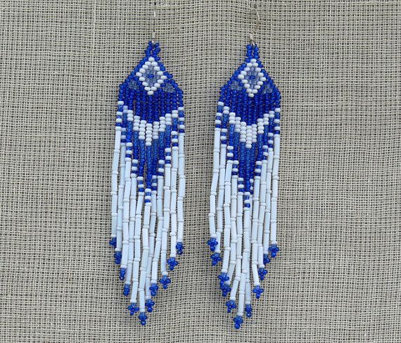 Blue and White Earrings  Native American Beaded by Burvesrotas,