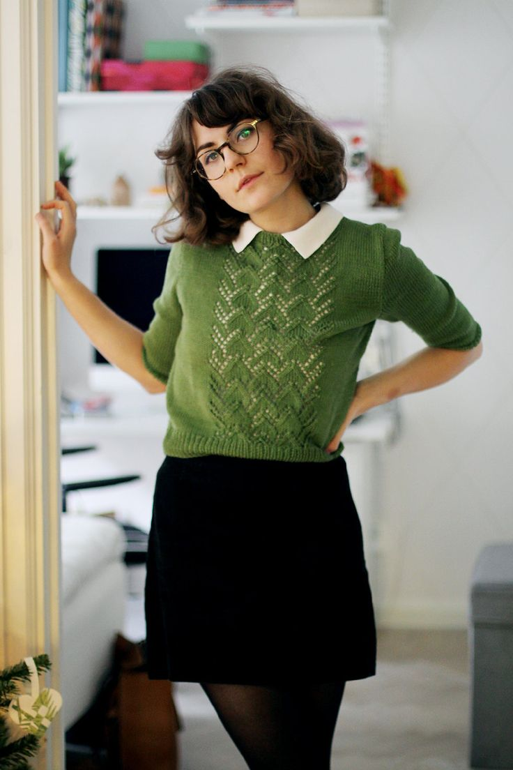 I like the colors and the sweater with the peter pan collar shirt underneath.
