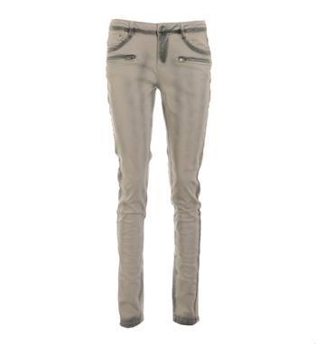 Summum 5-pocket lange broek met decoratieve ritsjes aan de voorzijde. Deze bleaced slim fit denim is voorzien donkere accenten - Zand - NummerZestien.eu