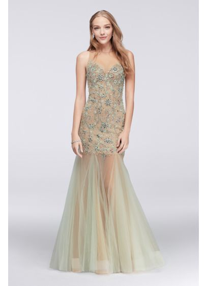 Illusion Mermaid Dress with Beaded Embellishment 1712P2451