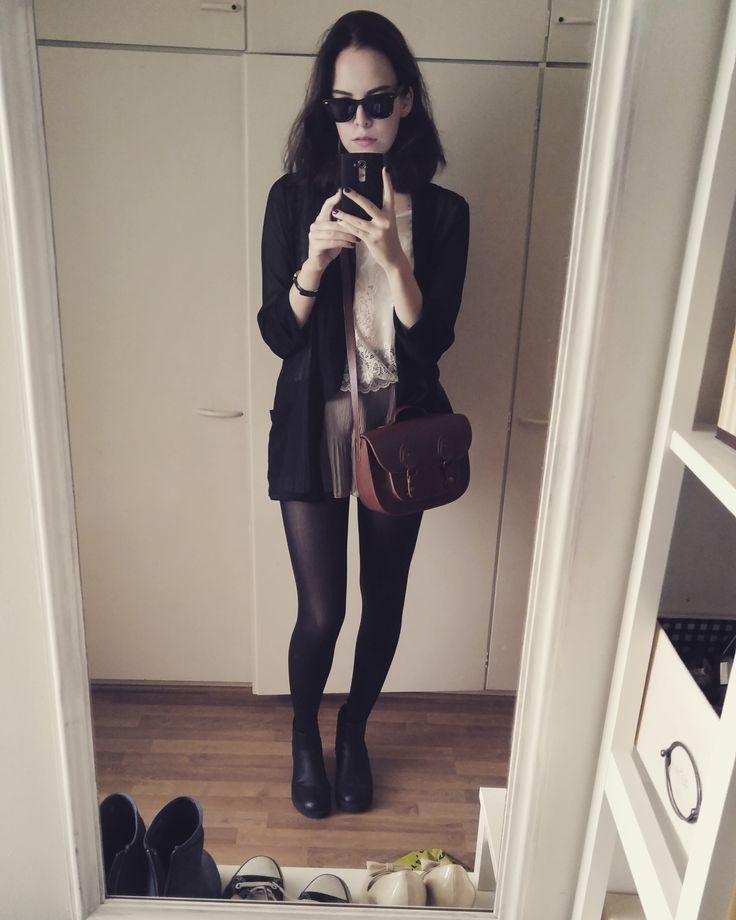 Sheer blazer + shorts + lace