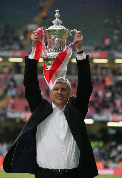 Arsène Wenger with the FA Cup. Arsenal v Manchester United 5-4 on penalty's at The Millennium Stadium (21 May 2005)