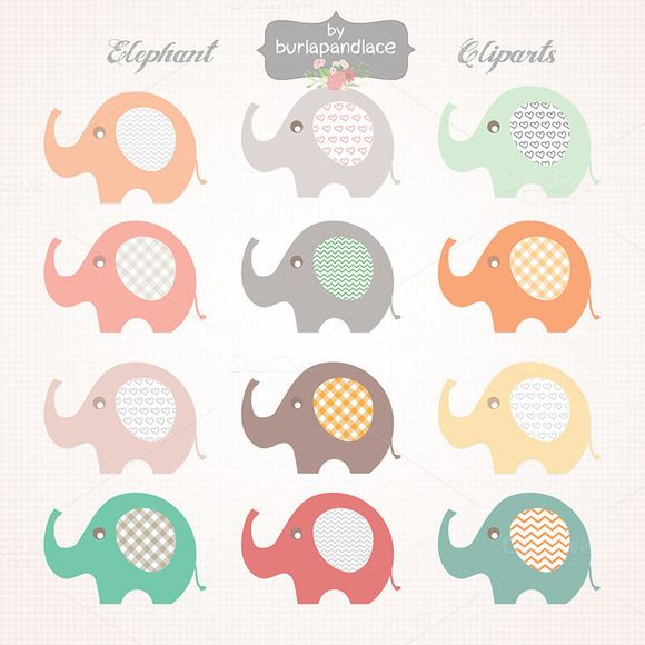 Check out Baby Elephant clipart by burlapandlace on Creative Market
