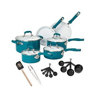 Guy Fieri 21-pc. Teal Ceramic Cookware Set