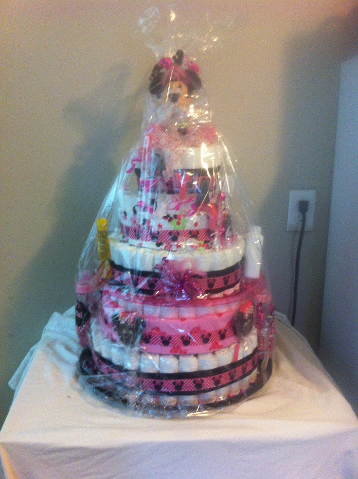 Minnie Mouse Diaper Cake With Customized Baby Bottles