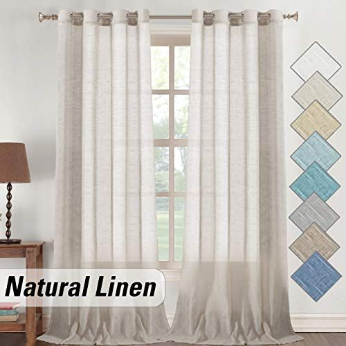 Elegant Semi Sheer Natural Linen Curtains 108 Inch For Sliding Glass Door Living Room Light Filtering Extra Long Grommet In 2020 Room Themes Curtains Country Curtains