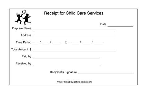 Daycares can keep track of payment periods with this printable child care receipt. Free to download and print