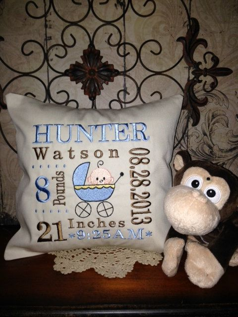 Hey, I found this really awesome Etsy listing at https://www.etsy.com/listing/124070107/birth-annoucement-personalized-pillow