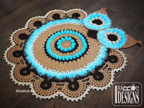 Paid pattern, but so cute!  Retro Owl Nursery Play Rug Carpet Mat Crochet Pattern by IraRott