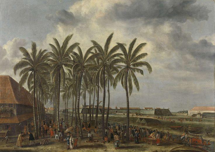 Het kasteel van Batavia, Andries Beeckman, 1661.       Mirte: ik vind het een mooie kleuren combinatie, en een mooi symbool de handel die daar is gedreven. Je ziet mensen dansen en slaven verkopen het geeft een leuke sfeer.