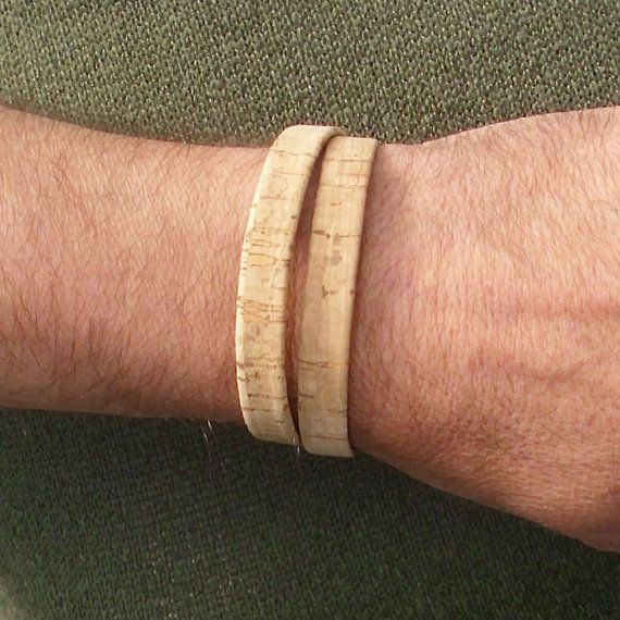 Bracelet made of natural cork cord  double. by BHDnordic on Etsy