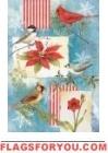 Winter Garden & poinsettia Garden Flag