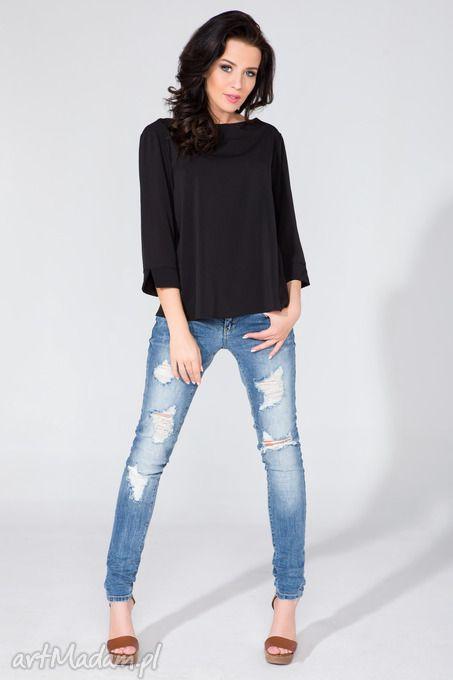 Bluzka koszulowa kopertowym tyłem t136 czarny bluzki tessita
