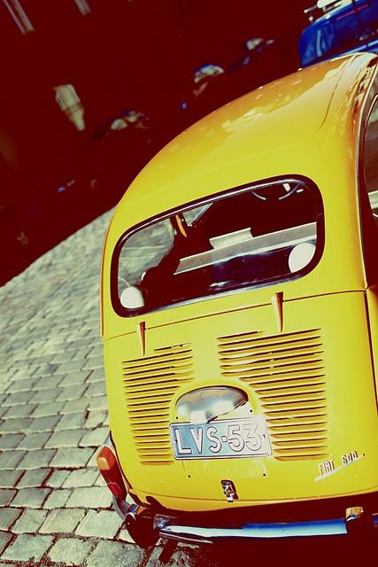 retro automobile, yellow.