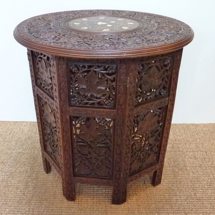 Anglo indian carved octagonal rosewood folding side table for Oriental wood carved furniture