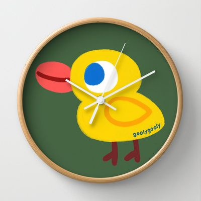 yellow duck Wall Clock by goolygooly - $30.00  <3 it