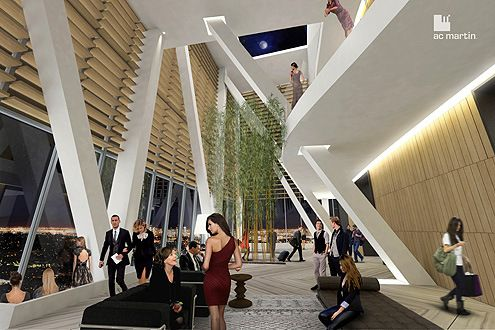 """The grand """"sky lobby"""" on the 70th floor will offer sweeping views of Los Angeles (Photo: AC Martin)"""