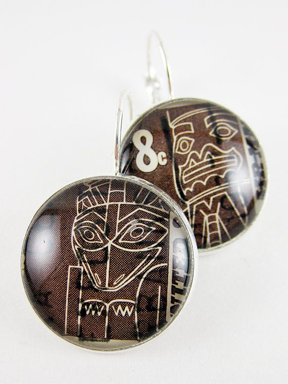 Postage Stamp Earrings / Totem / USA  c. 1967 / by OhThePost