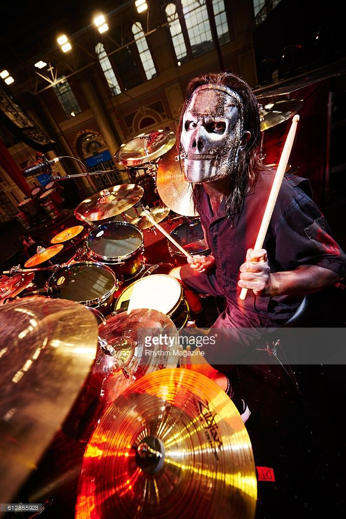 Portrait of American musician Jay Weinberg, drummer with heavy metal group Slipknot, photographed before a live performance at Alexandra Palace in London, on February 16, 2016.