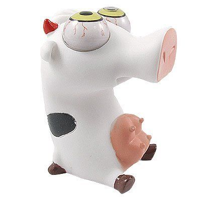 "Como Emotion Release Pop Eyes Squat Rubber Cow White Black by Como. $7.91. Size : 8 x 8.5 x 11cm/ 3.1"" x 3.3"" x 4.3"" (L*W*H). Package Content : 1 x Cow Toy. Product Name : Cow Toy;Material : Rubber. Net Weight : 90g. Color : As Picture Show. Note: It is not for children under 3 years. This cow toy is designed with long noze, big goggle eyes, red double horns, made of rubber material. The Cow Toy is fit for people's Emotion Ebreact, squeeze it, its eyes may fall out."
