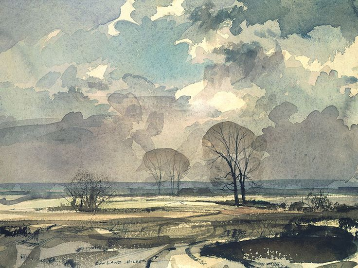 Watercolour on paper. 'The sketcher' (writes Hilder) 'whose senses are alert, is aware of the sky as the source of all that goes into a piece – light, shade, variations of form, the brightening and fading of tones – even as his pencil or brush is poised to swoop on the paper'.