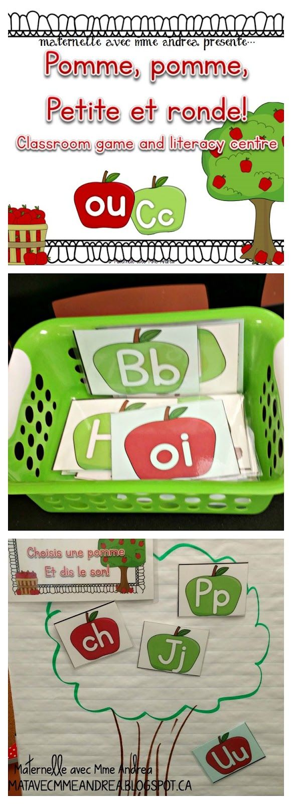 Pomme, pomme, petite et ronde! Un beau petit jeu à faire pendant les moments de transition, qui travaille les lettres et les sons. $