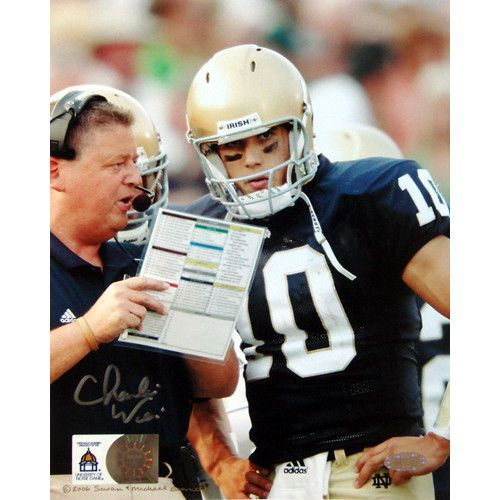 Charlie Weis with Brady Quinn 16x20 Photo - Charlie Weis graduate of the University of Notre Dame made his name in the coaching world as the offensive coordinator of the New England Patriots. After helping them to win four different Super Bowls Weis then decided to return to his alma mater as the head football coach. He coached at Notre Dame from 2005 to 2009 before accepting the job as head offensive coordinator for the Kansas City Chiefs. Charlie Weis has autographed this great 16x20…