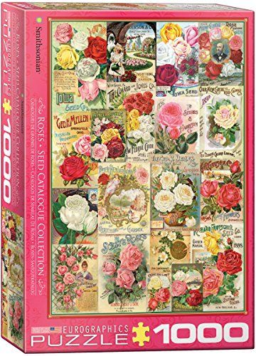 """EuroGraphics Roses Smithsonian Seed Catalogues (1000 Piece) Puzzle:   EuroGraphics Roses Seed Catalog 1000-Piece Puzzle. The Smithsonian Institution Libraries have a unique trade catalog collection that includes Roses Seed, dating back to 1830 documenting the history of the seed. Box size: 10"""" x 14"""" x 2.37"""". Finished Size: 19.25"""" x 26.5""""."""