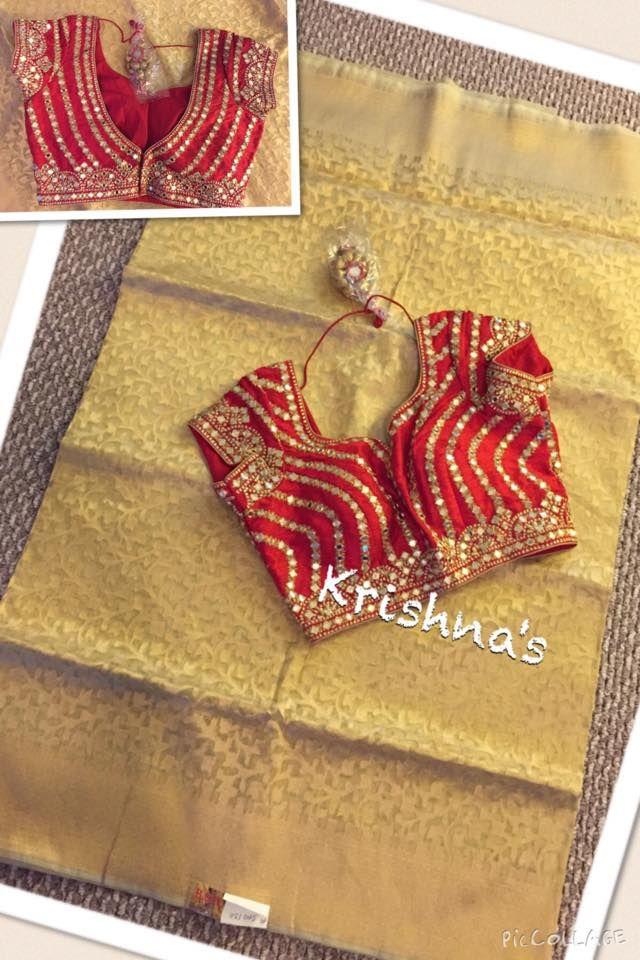 Sari or saree blouse design. Indian fashion.