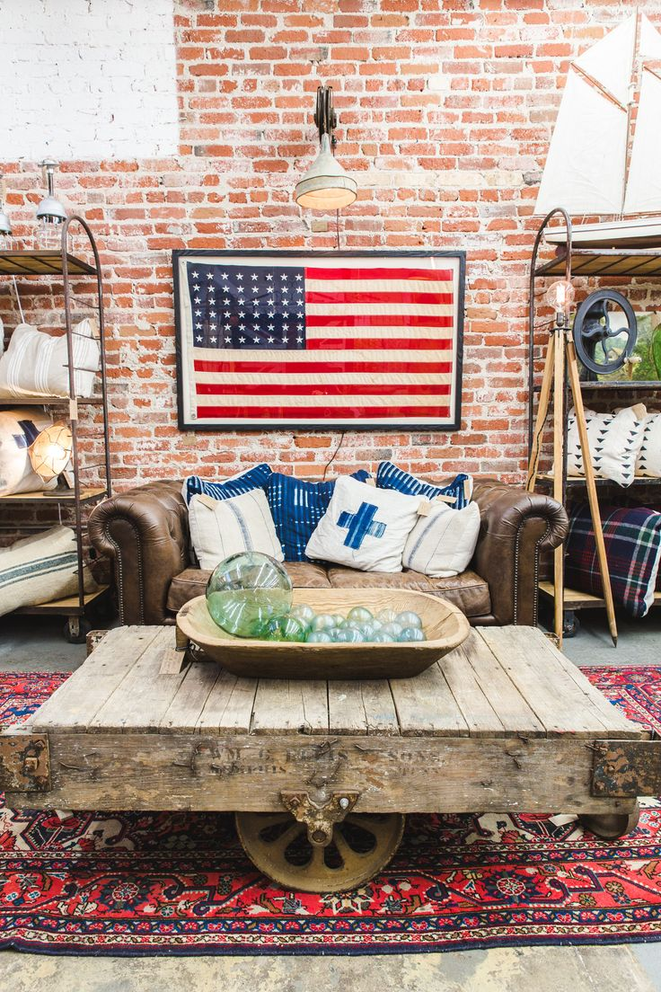 Vintage 1950's 48 Star Flag $1,800 |    Chesterfield Sofa $2,500 | Industrial Factory Cart $895 | Iranian Rug