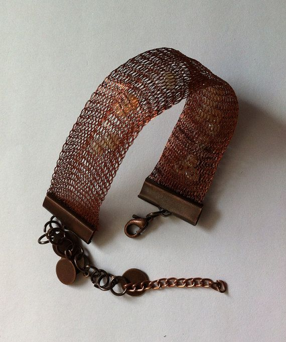 Woven braceletCopper colored wireseed beads by bonmokishop on Etsy