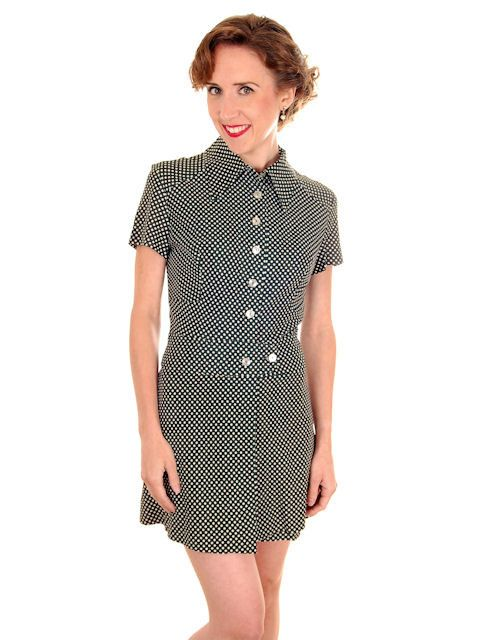 Vintage Ladies Playsuit 1970s Polyester Polka Dots Small