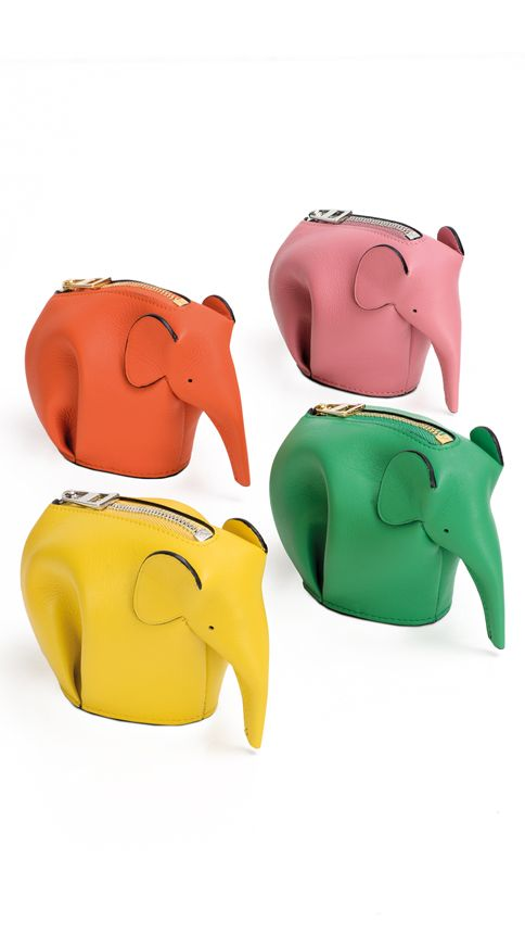 #LOEWEgifts Collection 2015. Multi-colour calf leather Elephant coin purses.  Now in store and loewe.com