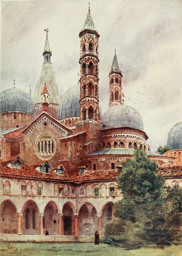 Basilica of St Antonio, Padua. Watercolour by William Wiehe Collins (1862-1951)