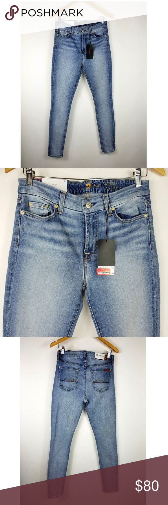 """7 For All Mankind Mid Rise Skinny Jeans 7 For All Mankind women's mid rise skinny jeans in a light wash. Size 29. Made of a stretchy 98% cotton, 2% spandex blend. New with tags  14.5"""" across at waist 9.75"""" rise 30.5"""" inseam 5"""" leg opening 7 for all Mankind Jeans Skinny"""