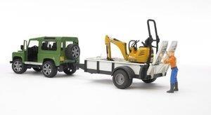 Land Rover avec Remorque & Mini Pelle JCB - Bruder 02593