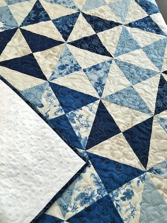 Throw Quilt Minky HANDMADE Patchwork Cold Spell by QuiltPetaler