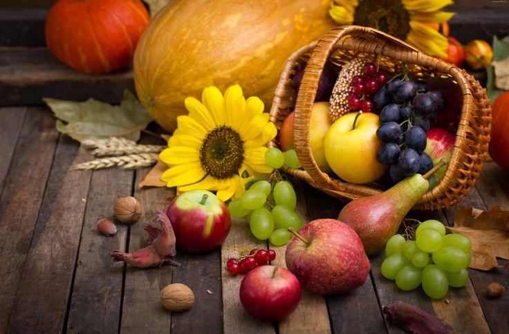 Owoce, Jesieni, Koszyk, Słonecznik